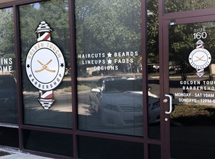 Window Graphics |Outdoor Vinyl Lettering & Graphics | Barber Shop | Boise, Idaho
