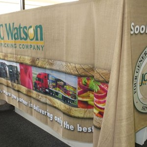 Custom printed tablecloths look polished and professional