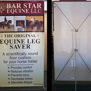 Our adjustable and lightweight banner stand is a popular choice