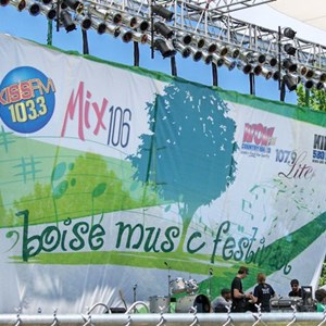 A 20' x 40' band scrim makes a big statement at the Boise Music Festival
