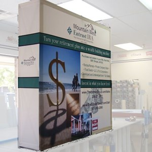 A free-standing display will draw attention and provides flexibility in designing your display area