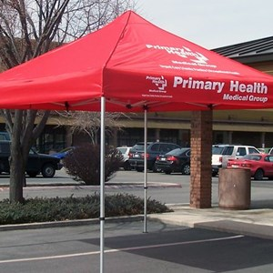 Canopies can be done with one color imprints or even full color printing