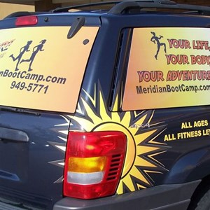 Digitally printed window perf combined with printed and cut vehicle graphics