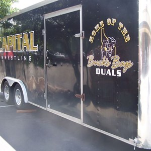 Trailer graphics show school spirit and great sponsors