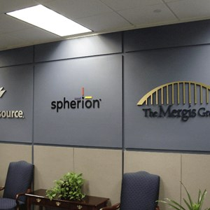 Logos in conference room