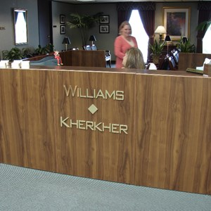 Dimensional letters for lobby desk