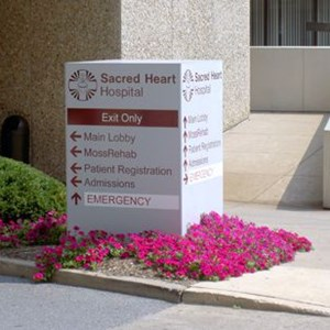 Scared Heart Hospital Directional Monument Sign and Signage