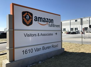 Amazon Monument Sign Installation - Crafted Manufactured Large Site Signs - Business Sign for Amazon Lehigh Valley Easton PA