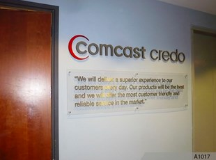 Acrylic Sign with Decorative Stand-offs and 3- Dimensional Logo Signage - Comcast, Schaumburg, IL