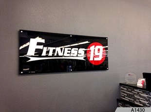 Acrylic Sign with 3-D Brushed Aluminum Letters - Fitness 19, Arlington Heights, IL