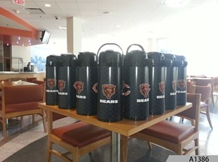We wrapped coffee carafes for the Chicago Bears