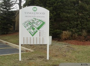 Post & Panel Map Sign - Tanglewood Apartments