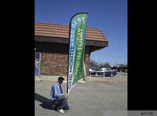 12' Wave or Feather Banner - Rotating 360 Degree