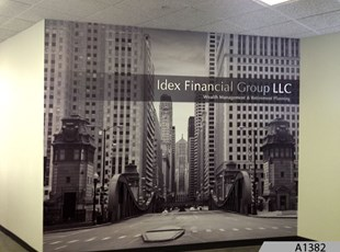 Wall Mural with 3-Dimensional Logo Signs