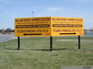 MDO Construction Signs on Wooden Posts installed in a V-Shape - Harper College, Palatine, IL