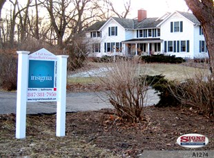 Construction Signs with PVC Posts and Finials - Insignia Kitchen & Bath Design Group in Barrington