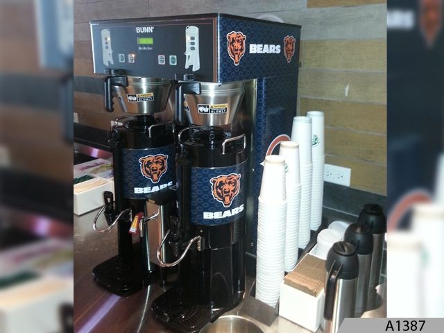 Coffee Machines wraped with Chicago Bears Logos