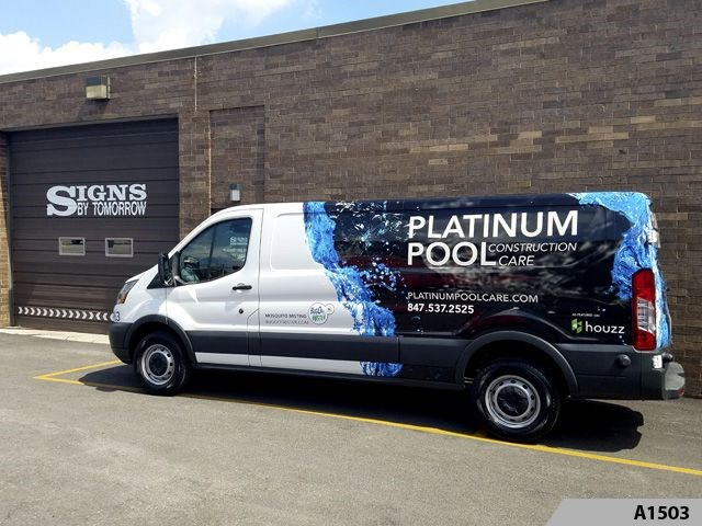 Partial Vehicle Wrap, Van parked at our Arlington Heights location.