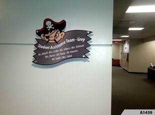 Custom shape Acrylic Sign with Decorative Stand-offs - Palatine High School - Home of the Pirates