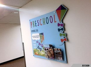 Custom Shape Display Board with Decorative Stand-off Screws - Rolling Meadows Park District, Rolling Meadows, IL