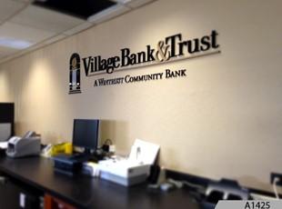 Indoor Dimensional Lettering | Village Bank, Arlington Heights, IL