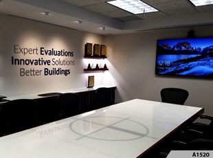 3-Dimensional Letters and digitally printed glass table; that's one way to transform your Conference Room - Building Technology Consultants, Arlington Heights, IL