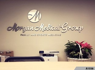 How about some new 3-Dimensional Brushed Silver Aluminum Logo Signage to really dress up your Lobby or Conference Room? Morgan Medical Group, Park Ridge, IL