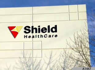 3-Dimensional Acrylic Letters and 3-Dimensional Acrylic Logo as Building Signage for Shield Healthcare, Elmhurst, IL