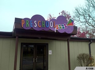 3-Dimensional Letters on Custom Shaped Background Panel designed, manufactured and installed for the Rolling Meadows Park District