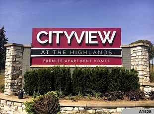 Illuminated Monument Sign with Reverse Channel Letters for City View at the Highlands in Lombard, IL