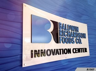 3 Dimensional Acrylic Logo Signs installed on Brushed Silver Aluminum Sign Panels, installed with Decorative Stand-off Screws,Baldwin Richardson Foods Co. in Westmont, IL