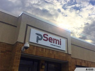 Aluminum Sign Panel with 3-Dimensional Acrylic Letters - Peregrine Semiconductor in Arlington Heights, IL