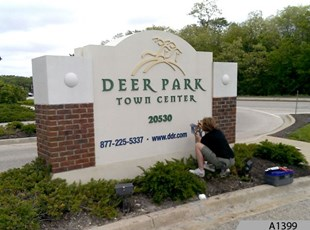 Installing 3-Dimensional Letters to the Deer Park Monument Signs in Kildeer, IL