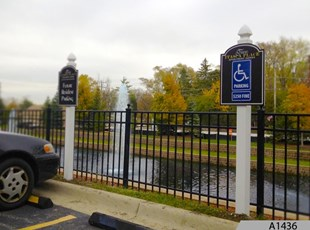 Routed or Engraved Polycarve Parking Signs, made out of HDPE, a Multi-Color Engravable Polymer Sheet. Two Itasca Place Apartments, Itasca, IL