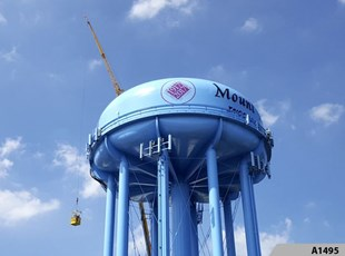 It takes a special vinyl to apply the digitally printed Centennial Logo to the Mt. Prospect Water Tower, we got it done!