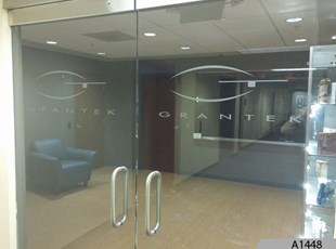Frosted / Etched Vinyl Lettering | Indoor Vinyl Lettering & Graphics | Advertising | Grantek Systems Integration, Oak Brook, IL