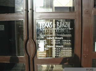 Simple but Effective Window Graphics | Perforated Window Film | Restaurant | Texas de Brazil, Schaumburg, IL