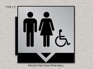 ADA Pro System Restroom Signs - Projecting Overhead