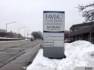 Pylon Signs | Monument Signs | Healthcare | Favia Family Dental, Arlington Heights, IL