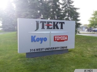 Monument Sign with 3-Dimensional Tenant Signage | JTEKT Toyoda Americas Corporation in Arlington Heights