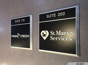 Room ID Signs with Aluminum Frame System - A1421