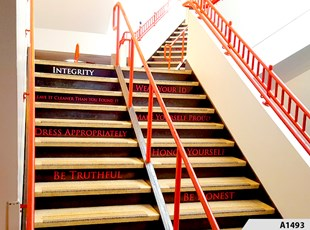 Stairwell Signage is just one example of what Envionmental Signage, aslo called Experiental Graphics, can be all about - Palatine High School