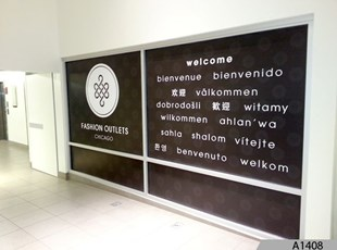Tenant Welcome Sign at Fashion Outlets of Chicago - A1408