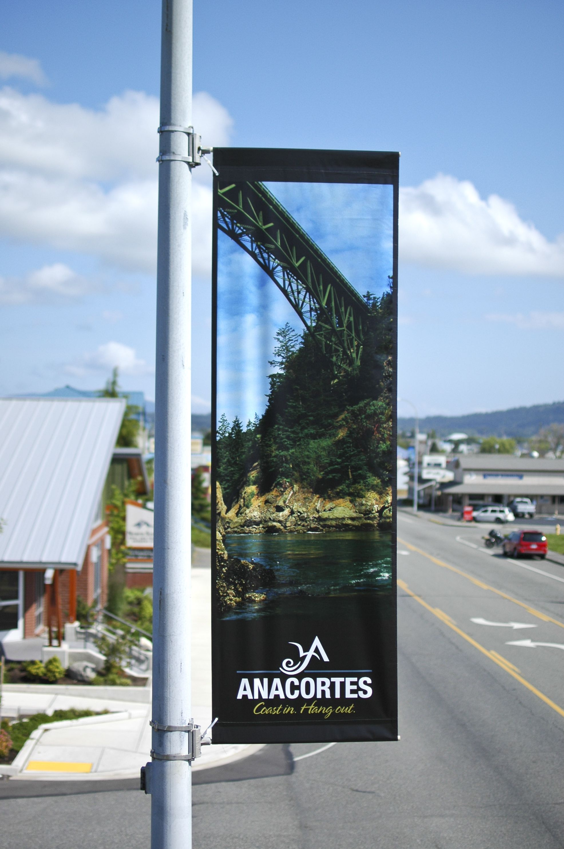 Banner banners banner poles outdoor display cheap custom -  Anacortes 1 Pepsi Parking Lot Pole Banners Theater Company
