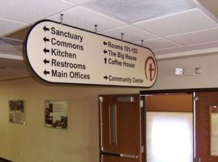 Interior Ceiling Mount Directory / Wayfinding Sign