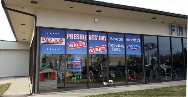Custom signs digital printing graphics displays more for The frederick motor company
