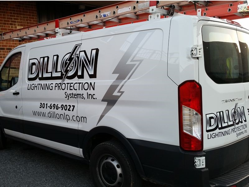 Digital and Silver Metallic Graphics for Dillon Lightning Protection Van