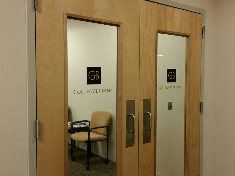 Interior Glass Door Lettering for Goldwater Bank in Frederick MD