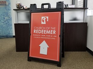 Black A-Frame | Reflective | Signicade Deluxe |Church of the Redeemer | Freestanding Frames | Directional Signs | Religion | Frederick, MD
