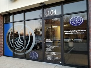 Frosted Window Graphics | Translucent Window Graphics | Outdoor Vinyl Lettering & Graphics | Allstate Insurance | Frederick, MD